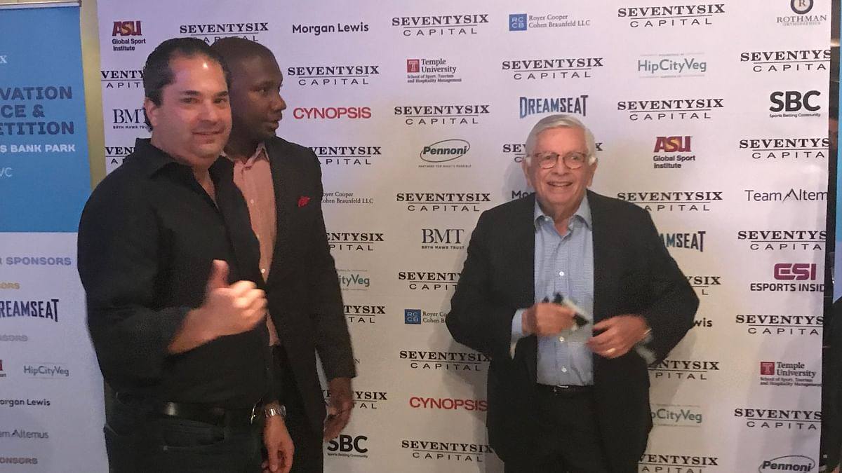 Wayne Kimmel, Ryan Howard and David Stern at the SeventySix Capital Sports Innovation Conference.