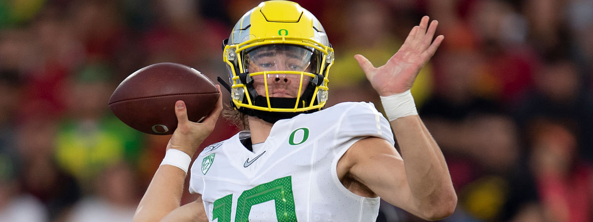 Oregon quarterback Justin Herbert throws a pass during the first half of an NCAA college football game against Southern California, Saturday, Nov. 2, 2019, in Los Angeles.
