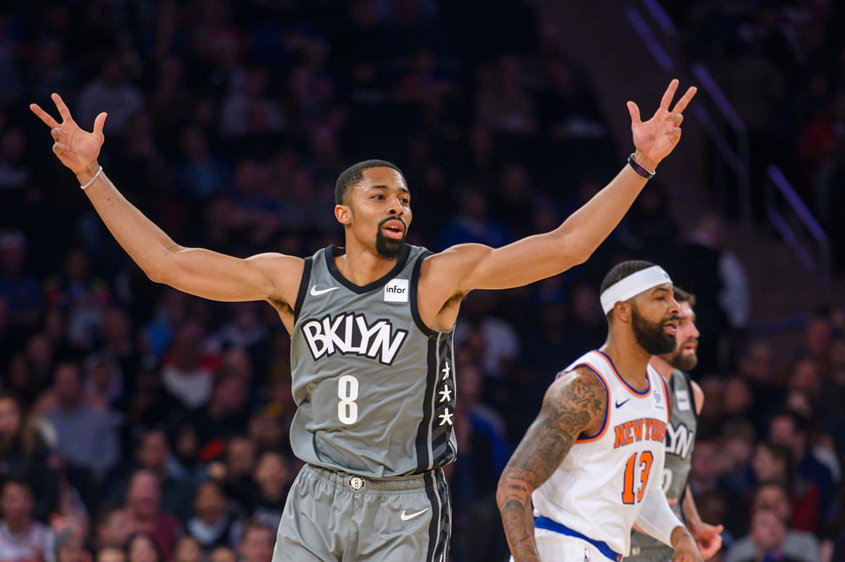 Brooklyn Nets guard Spencer Dinwiddie (8) celebrates a three-point basket in the first half of an NBA basketball game against the New York Knicks, Sunday, Nov. 24, 2019, at Madison Square Garden in New York. (AP Photo/Corey Sipkin).