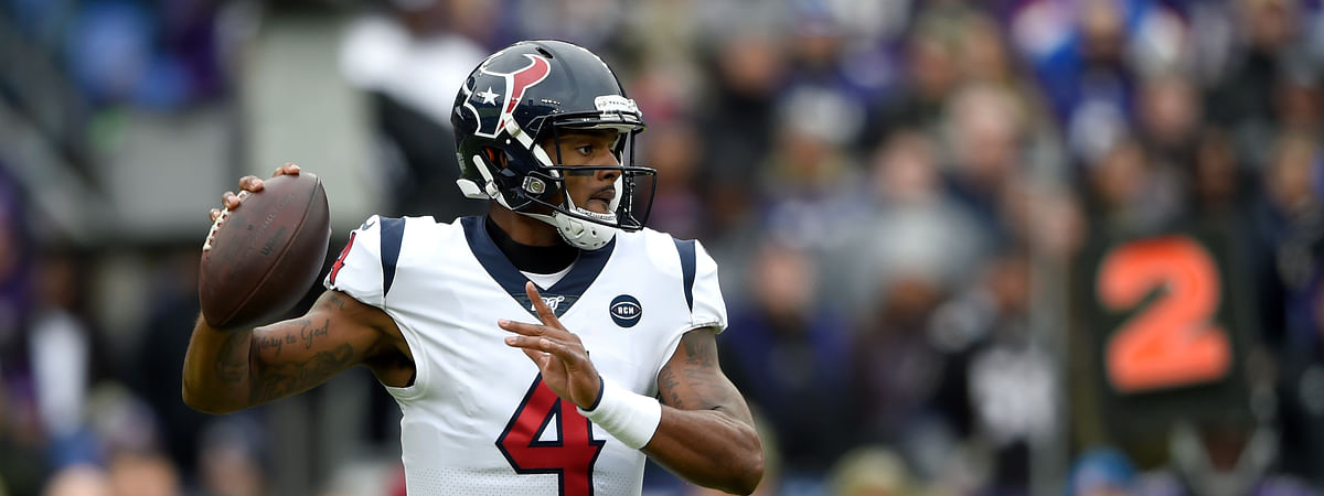 Houston Texans quarterback Deshaun Watson throws a pass against the Baltimore Ravens during the first half of an NFL football game, Sunday, Nov. 17, 2019, in Baltimore.