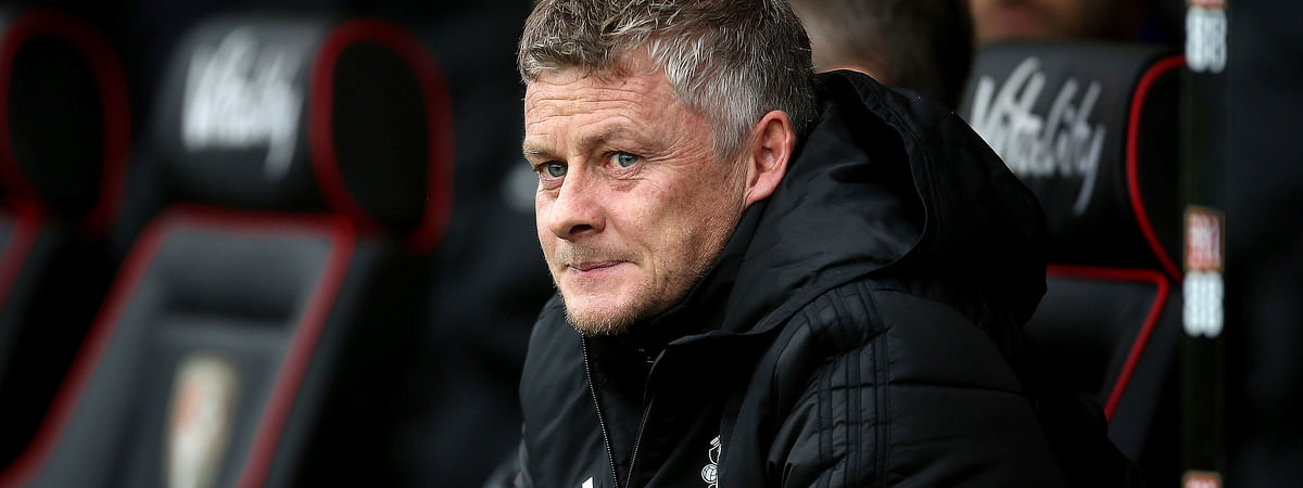 Manchester United manager Ole Gunnar Solskjaer watches the English Premiership soccer match against Bournemouth at The Vitality Stadium, Bournemouth, England, Saturday Nov. 2, 2019.