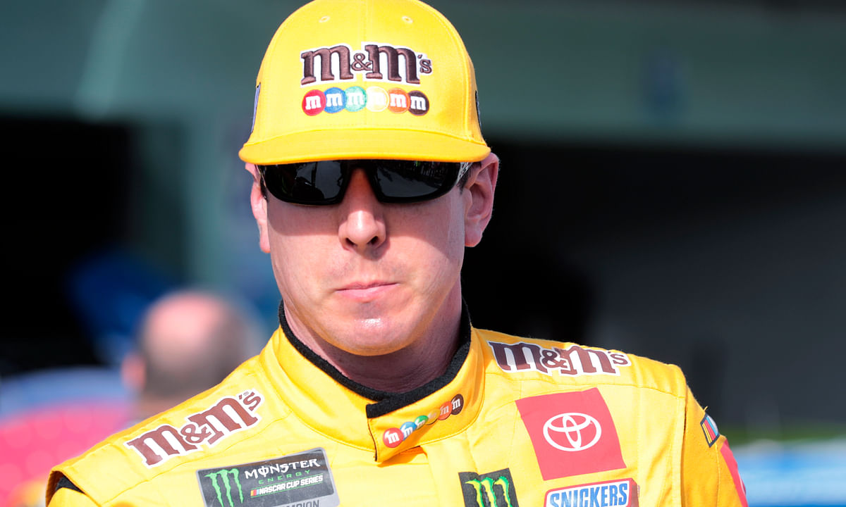 Kyle Busch leaves the garage after a NASCAR Cup Series auto race practice at Homestead-Miami Speedway in Homestead, Fla., Saturday, Nov. 16, 2019.