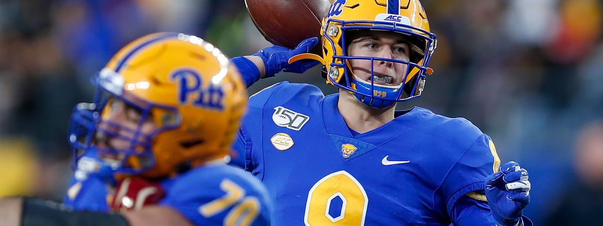 Pittsburgh quarterback Kenny Pickett (8) passes against Boston College during the first half of an NCAA college football game, Saturday, Nov. 30, 2019, in Pittsburgh. (AP Photo/