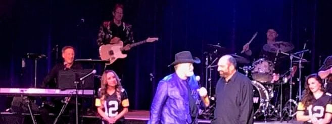 'Immaculate Reception' partners Terry Bradshaw (left) and Franco Harris share memories of their immortal play during 'The Terry Bradshaw Show' Friday night at Atlantic City's Borgata Hotel Casino & Spa