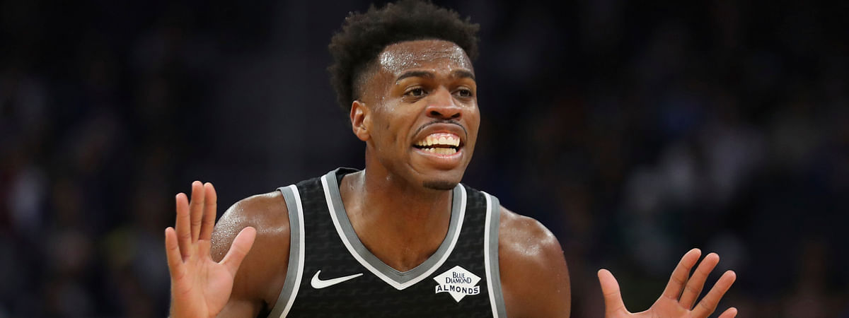 Sacramento Kings guard Buddy Hield (24) reacts to a foul call against the Golden State Warriors during the first half of an NBA basketball game in San Francisco, Sunday, Dec. 15, 2019. (AP Photo/Jed Jacobsohn)