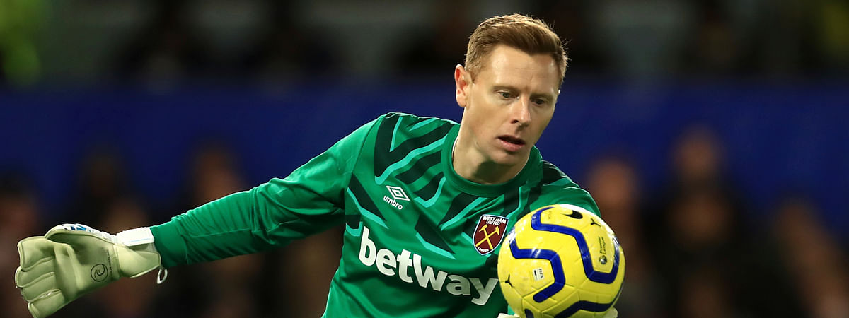 West Ham's goalkeeper David Martin during the English Premier League soccer match between Chelsea and West Ham at Stamford Bridge Stadium in London, England, in London, England, Saturday, Nov. 30, 2019.