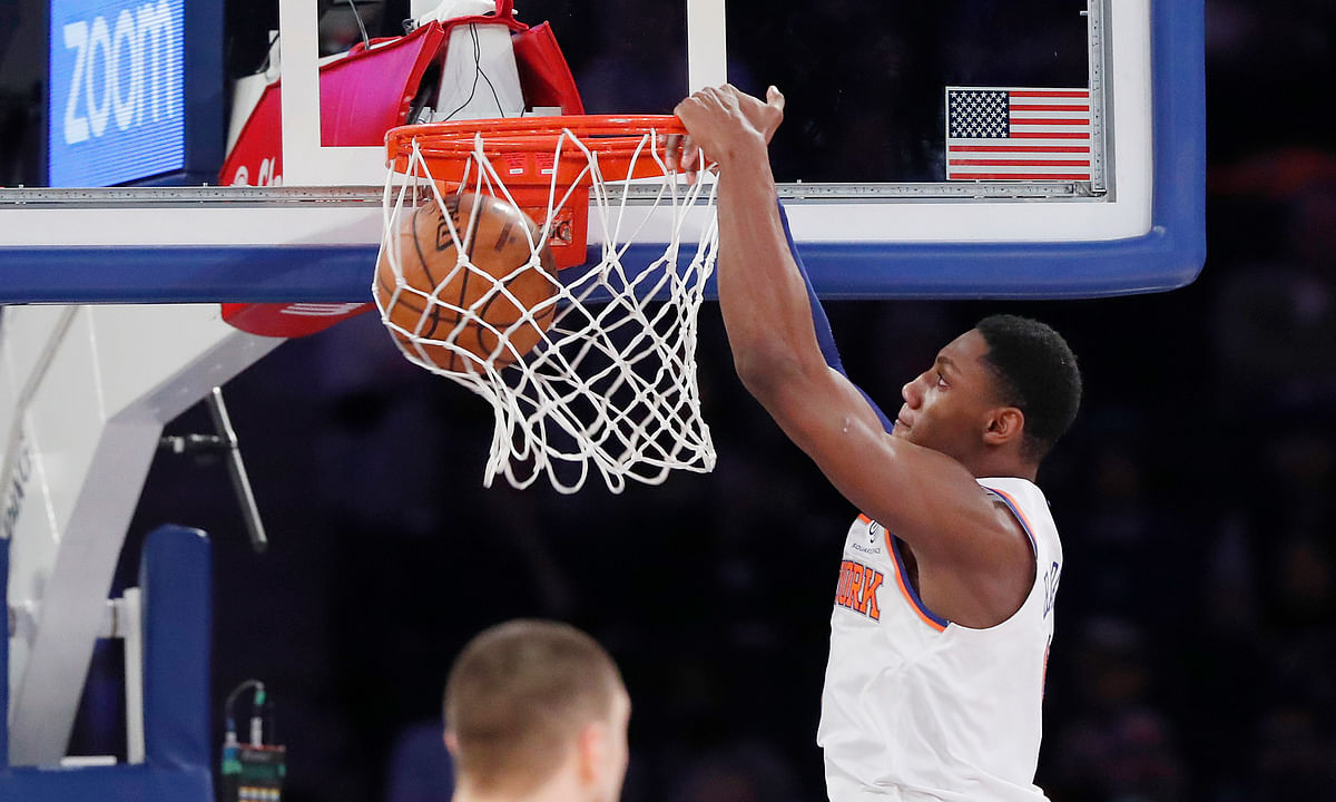 Thibodeau has a potential star to work with in New York Knicks forward RJ Barrett. (AP Photo/Kathy Willens)