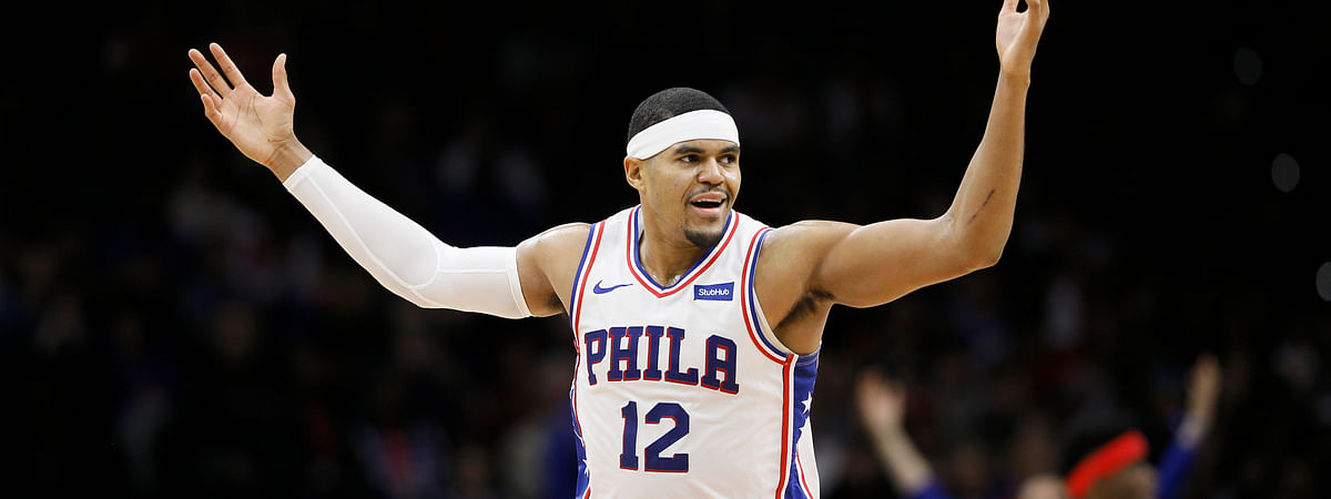 Philadelphia 76ers' Tobias Harris reacts after making a basket during the first half of an NBA basketball game against the Toronto Raptors, Sunday, Dec. 8, 2019, in Philadelphia.