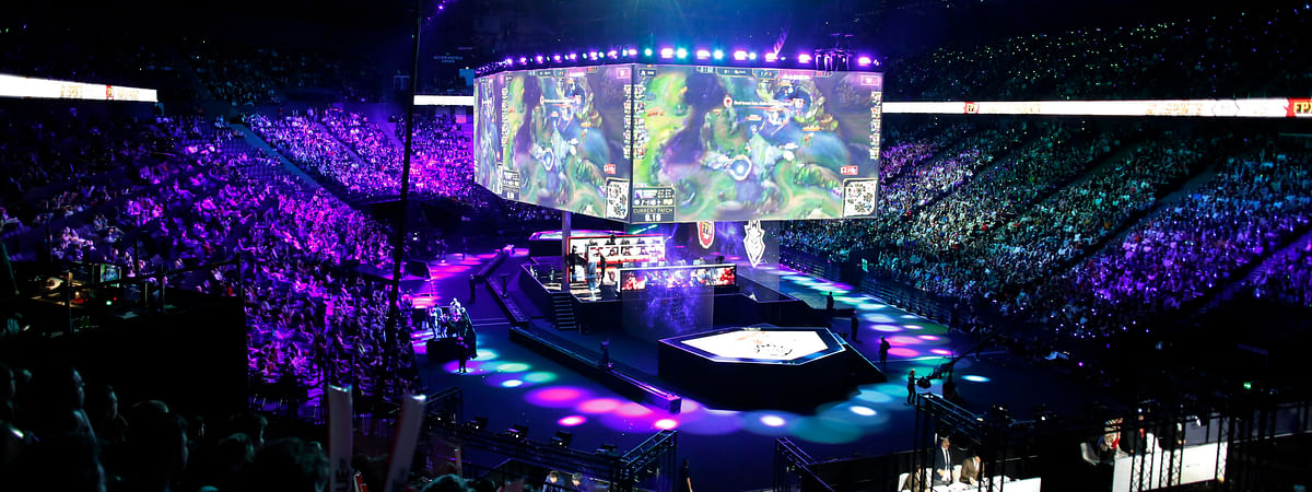 A general view during the final of League of Legends tournament between Team G2 Esports and Team FunPlus Phoenix, in Paris, Sunday, Nov. 10, 2019. The biggest e-sports event of the year saw a Chinese team, FunPlus Phoenix, crowned as world champions of the video game League of Legends. Thousands of fans packed a Paris arena for the event, which marked another step forward for the growing esports business.