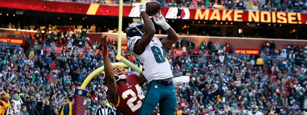 Eagles wide receiver Greg Ward catches a touchdown pass against the Redskins on Dec. 15 (Alex Brandon)
