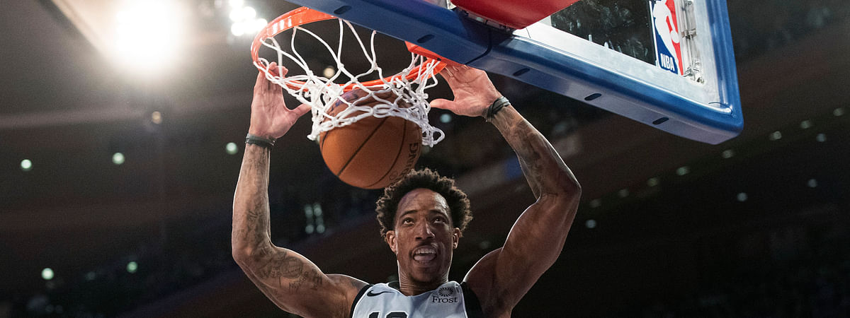 San Antonio Spurs guard DeMar DeRozan dunks in the second half of an NBA basketball game against the New York Knicks, Saturday, Nov. 23, 2019, at Madison Square Garden in New York. The Spurs won 111-104. (AP Photo/Mary Altaffer)