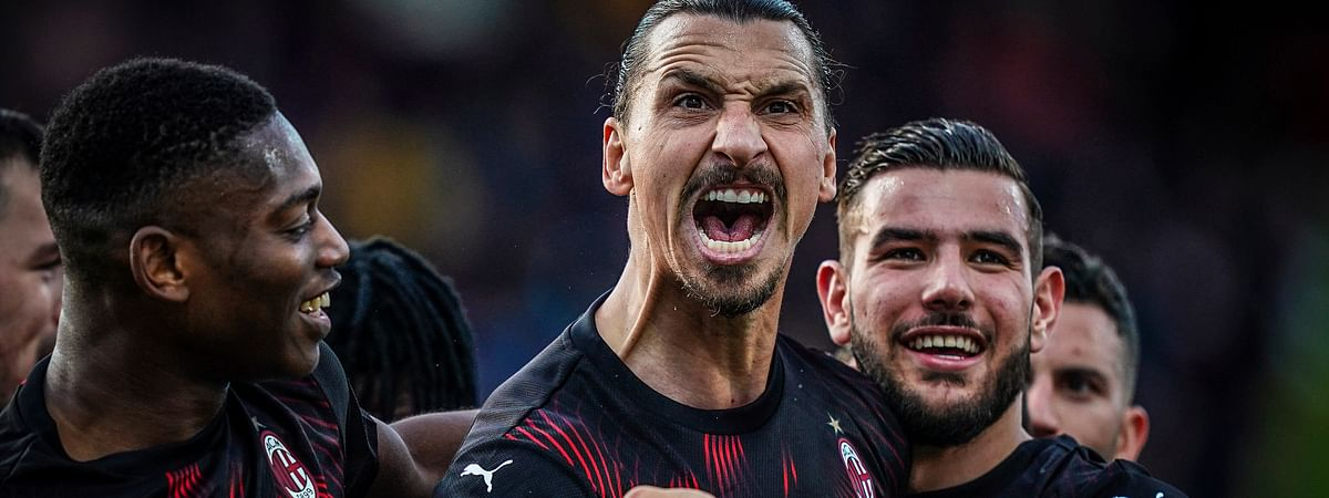AC Milan's Zlatan Ibrahimovic celebrates with teammates after scoring his side's second goal during an Italian Serie A soccer match between Cagliari and Milan in Cagliari, Saturday, Jan. 11, 2020.