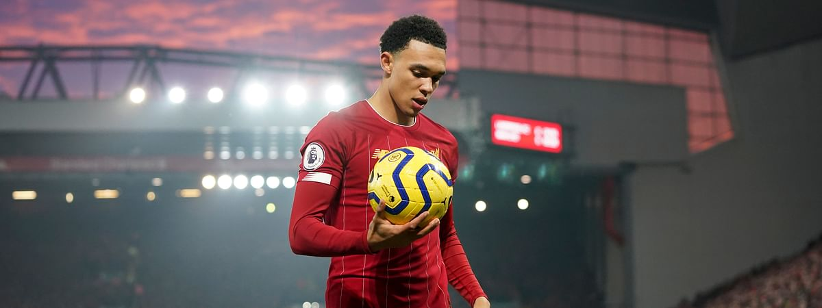 Liverpool's Trent Alexander-Arnold holds the ball during the English Premier League soccer match between Liverpool and Manchester United at Anfield Stadium in Liverpool, Sunday, Jan. 19, 2020.