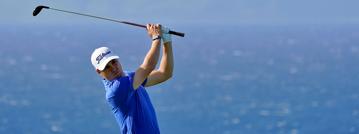 Justin Thomas plays his shot from the 13th tee during final round of the Tournament of Champions golf event, Sunday, Jan. 5, 2020, at Kapalua Plantation Course in Kapalua, Hawaii. (AP Photo/Matt York)