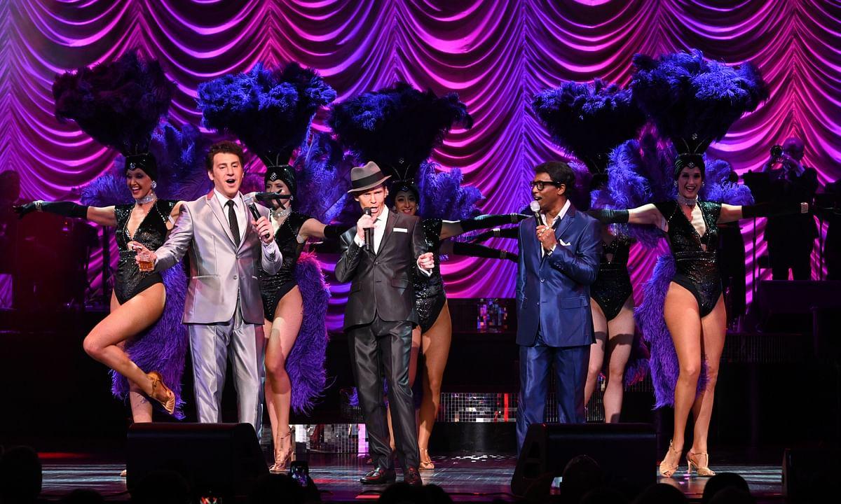(From left) Joe Scalissi (as Dean Martin), Brian Duprey (Frank Sinatra) and Kenny Jones (Sammy Davis Jr.) star in Rat Pack: Back in Town Sundays through April 26, 2020 at Tropicana Atlantic City