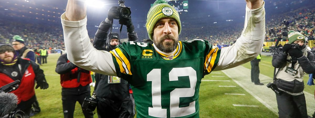 Green Bay Packers' Aaron Rodgers celebrates as he walks off the field after an NFL divisional playoff football game against the Seattle Seahawks Sunday, Jan. 12, 2020, in Green Bay, Wis. The Packers won 28-23 to advance to the NFC Championship.