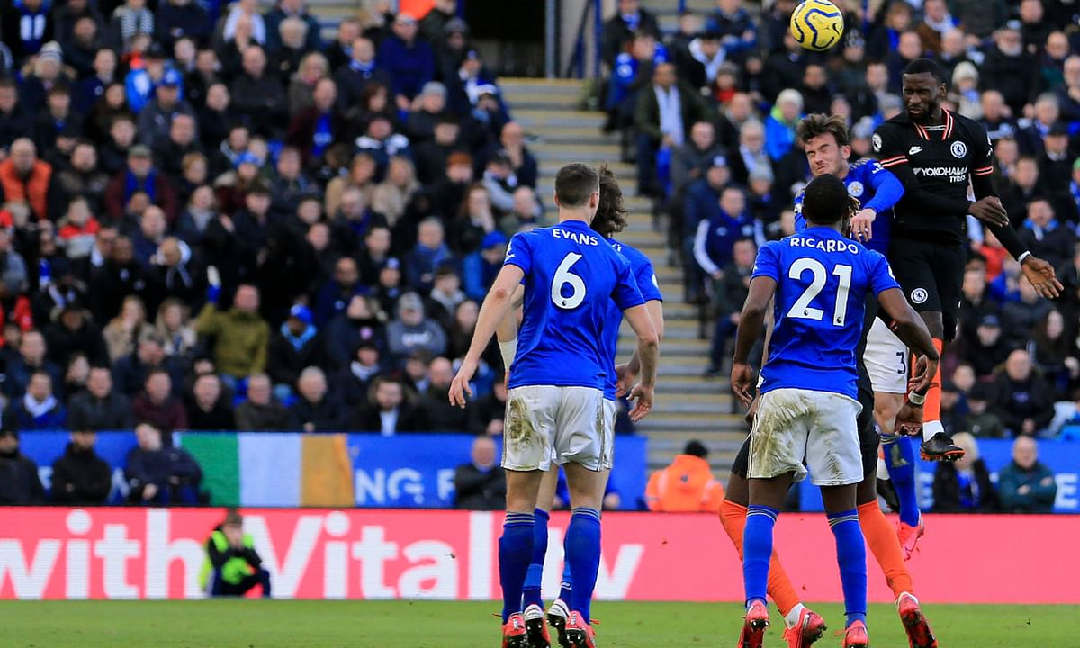 Chelsea's Antonio Rudiger (far right) scores on a header against Leicester City on Feb. 1 (Leila Coker)