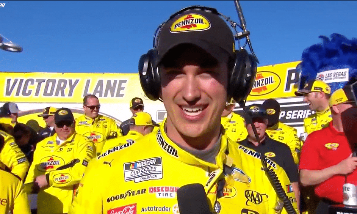 Joey Logano after winning the Pennzoil 400 at the Las Vegas Motor Speedway