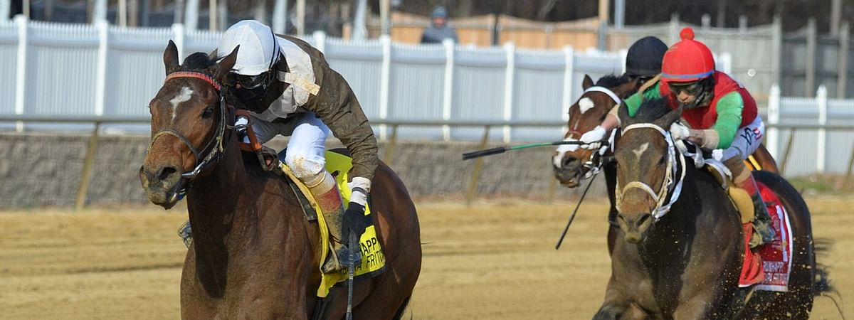 Majestic Reason winning the G3 $250,000 RUNHAPPY Barbara Fritchie Stakes at Laurel Park