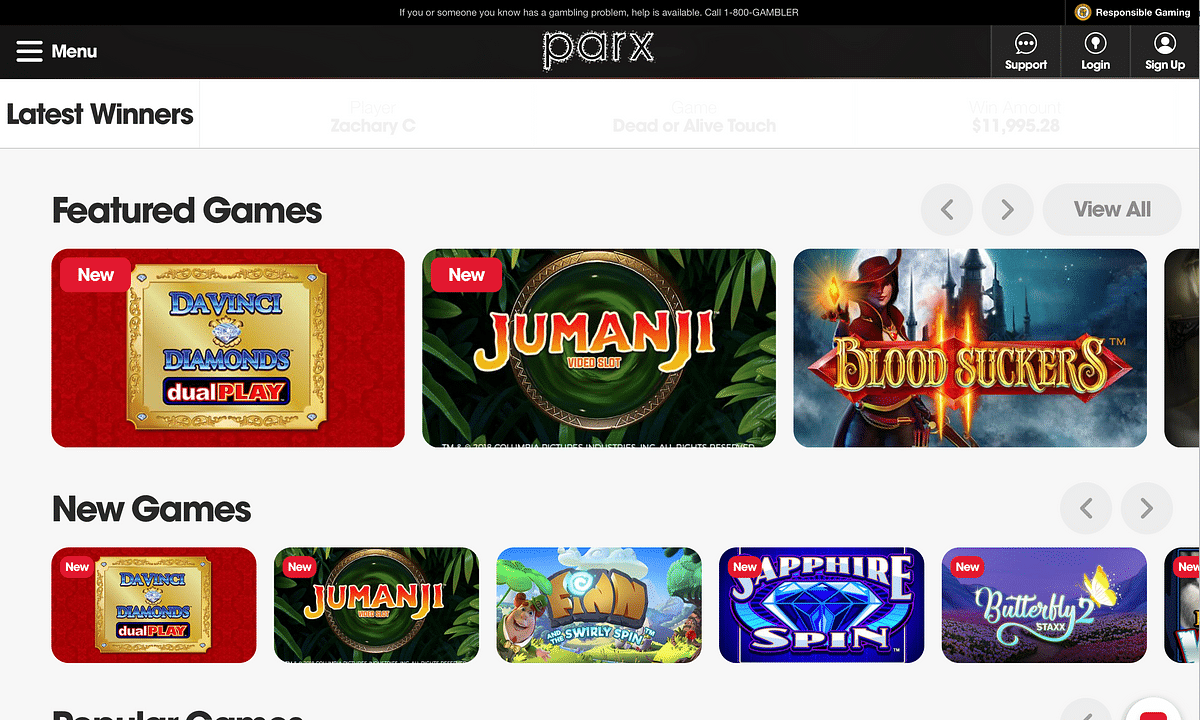 A selection of online games offered by Parx Casino