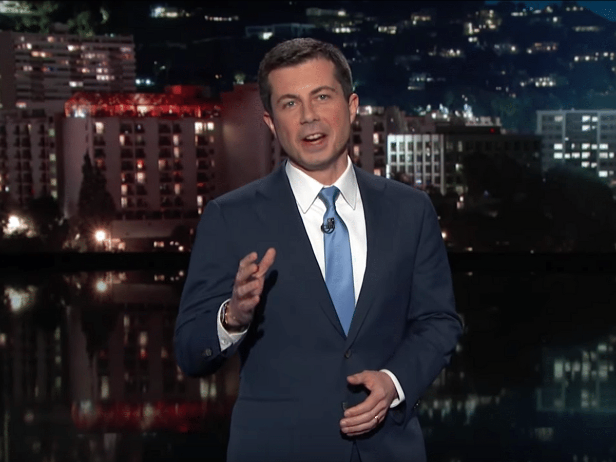 'Mayor Pete' looks good in the host's seat sitting in for Jimmy Kimmel