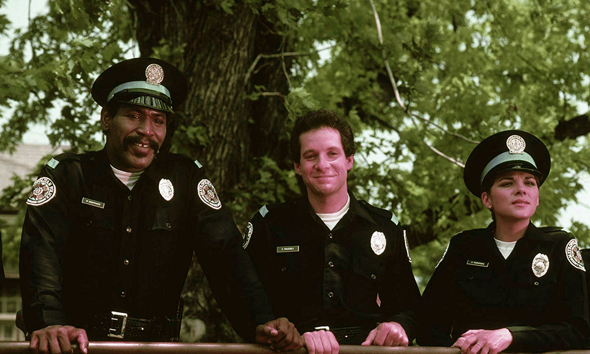 Kim Cattrall, Steve Guttenberg, and Bubba Smith in Police Academy (1984)