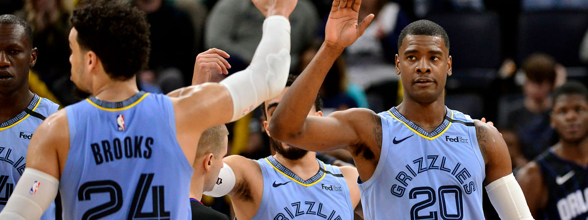 Memphis Grizzlies guard Josh Jackson (20) gets a high-five from guard Dillon Brooks (24) during the second half of the team's NBA basketball game against the Orlando Magic on Tuesday, March 10, 2020, in Memphis, Tenn.