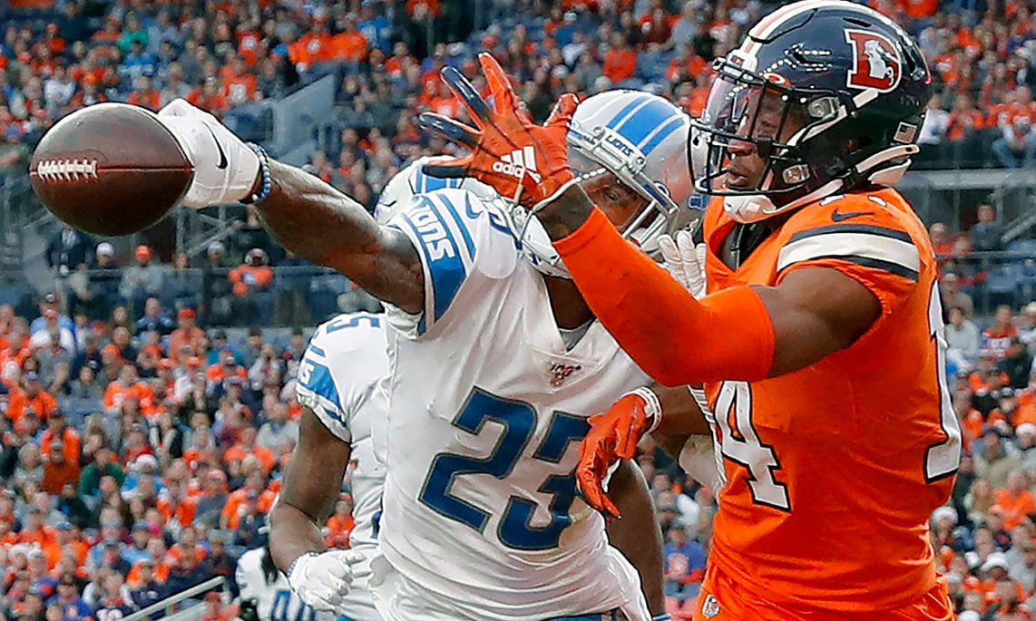 New Eagles cornerback Darius Slay (23) knocks away a pass in the end zone intended for Denver Broncos wide receiver Courtland Sutton on Dec. 22, 2019