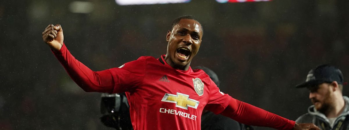 Manchester United's Odion Ighalo celebrates after the English Premier League soccer match between Manchester United and Manchester City at Old Trafford in Manchester, England, Sunday, March 8, 2020. Manchester United won 2-0.