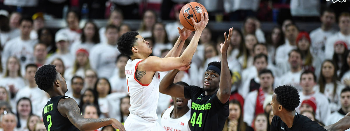 Maryland guard Anthony Cowan Jr. (1) goes to the basket for a layup during the first half against the of an NCAA college basketball game against the Michigan State, Saturday, Feb. 29, 2020, in College Park, Md.