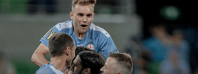 Melbourne City celebrates a goal