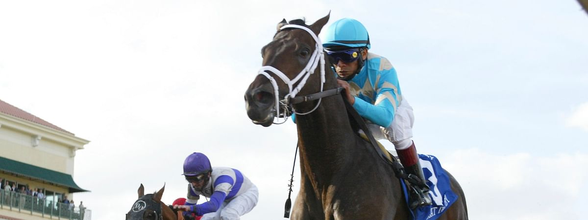 In this March 31, 2007, file photo provided by Equi-Photo, Scat Daddy, right, ridden by Edgar Pardo, wins the Florida Derby horse race at Gulfstream Park in Hallandale Beach, Fla.