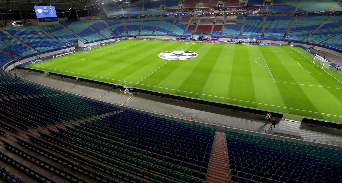 The soccer stadium in Leipzig, Germany, sits readies for a match before no fans on March 10 (Michael Sohn)