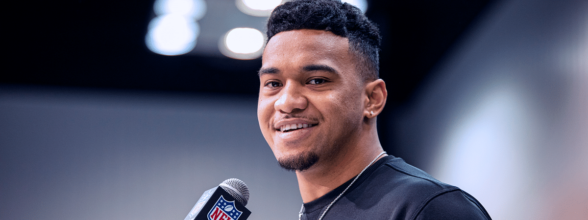 In this February 25, 2020 file photo, Tua Tagovailoa talks to the media at the NFL Scouting Combine in Indianapolis.
