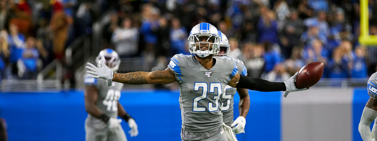 In this Nov. 28, 2019, file photo, Detroit Lions cornerback Darius Slay (23) celebrates an interception against the Chicago Bears during an NFL football game in Detroit. The Lions agreed to trade cornerback Darius Slay to the Philadelphia Eagles, ending the standout defensive back's seven-year stint in Detroit. Agent Drew Rosenhaus confirmed the trade Thursday, March 19, 2020, and that Slay has agreed to a three-year, $50 million extension with Philadelphia.