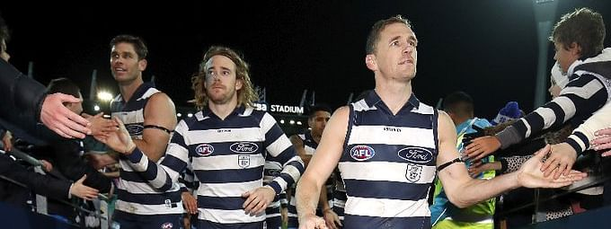 The Geelong Cats with fans who wont' be in attendance tonight.
