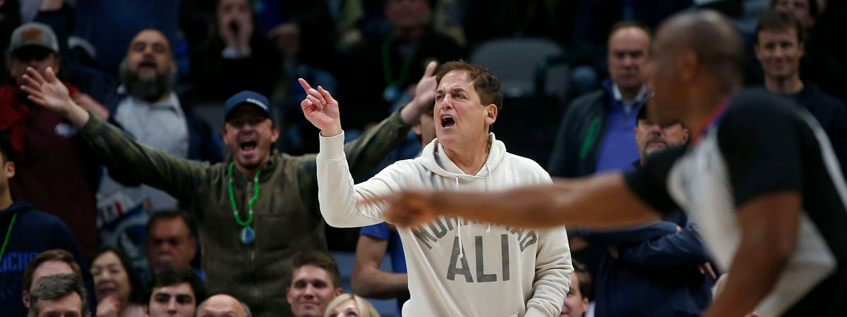 Dallas Mavericks owner Mark Cuban argues a call as they played the Utah Jazz during the second half an NBA basketball game in Dallas, Monday, Feb. 10, 2020. Utah defeated Dallas 123-119.