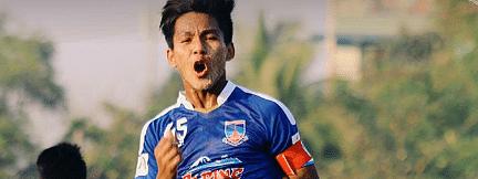 A happy player on the Yadanarbon Football Club.