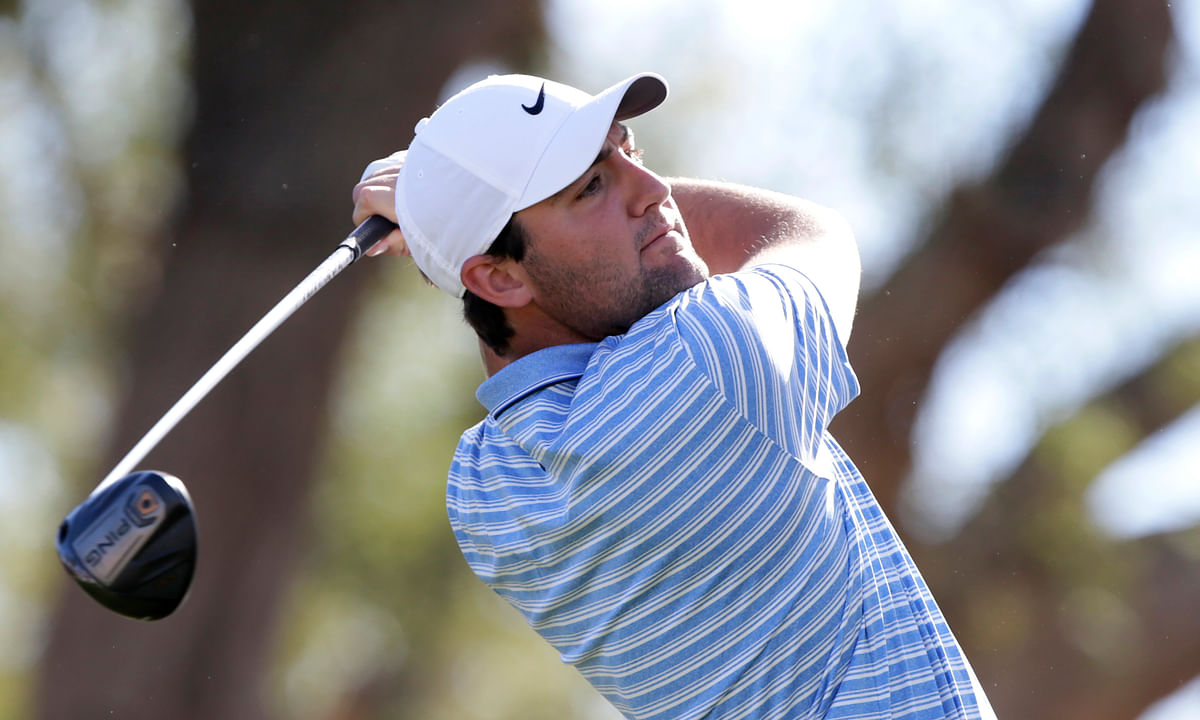 Scott Scheffler follows through on the third tee during the final round of The American Express golf tournament on the Stadium Course at PGA West in La Quinta, Calif., Sunday, Jan. 19, 2020.