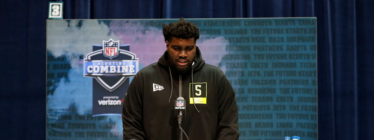Louisville offensive lineman Mekhi Becton speaks during a press conference at the NFL football scouting combine in Indianapolis, Wednesday, Feb. 26, 2020.
