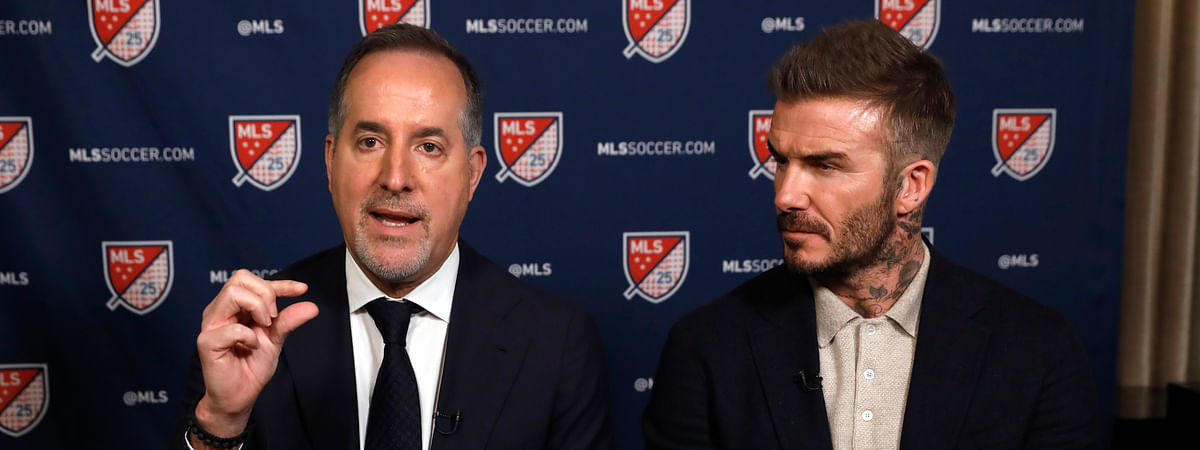 Inter Miami CF co-owners Jorge Mas, left, and David Beckham, are interviewed during the Major League Soccer 25th Season kickoff event, in New York, Wednesday, Feb. 26, 2020.
