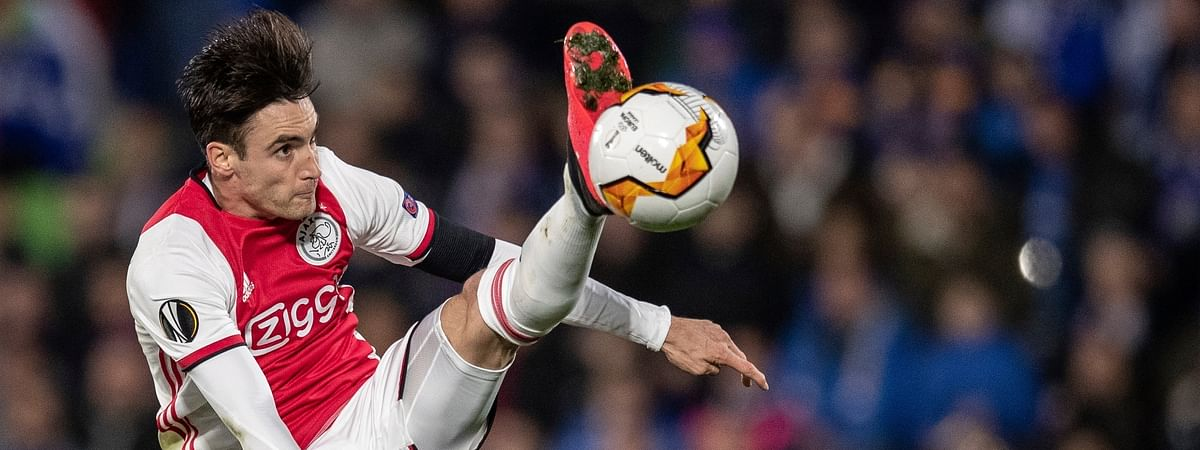 In this file photo dated Thursday, Feb. 20, 2020, Ajax's Nicolas Tagliafico in action during a Europa League soccer match against Getafe at the Coliseum Alfonso Perez stadium in Getafe, outskirts of Madrid, Spain. The Dutch soccer league was canceled Friday April 24, 2020, because of the coronavirus crisis, but leading team Ajax won't be declared the champion.