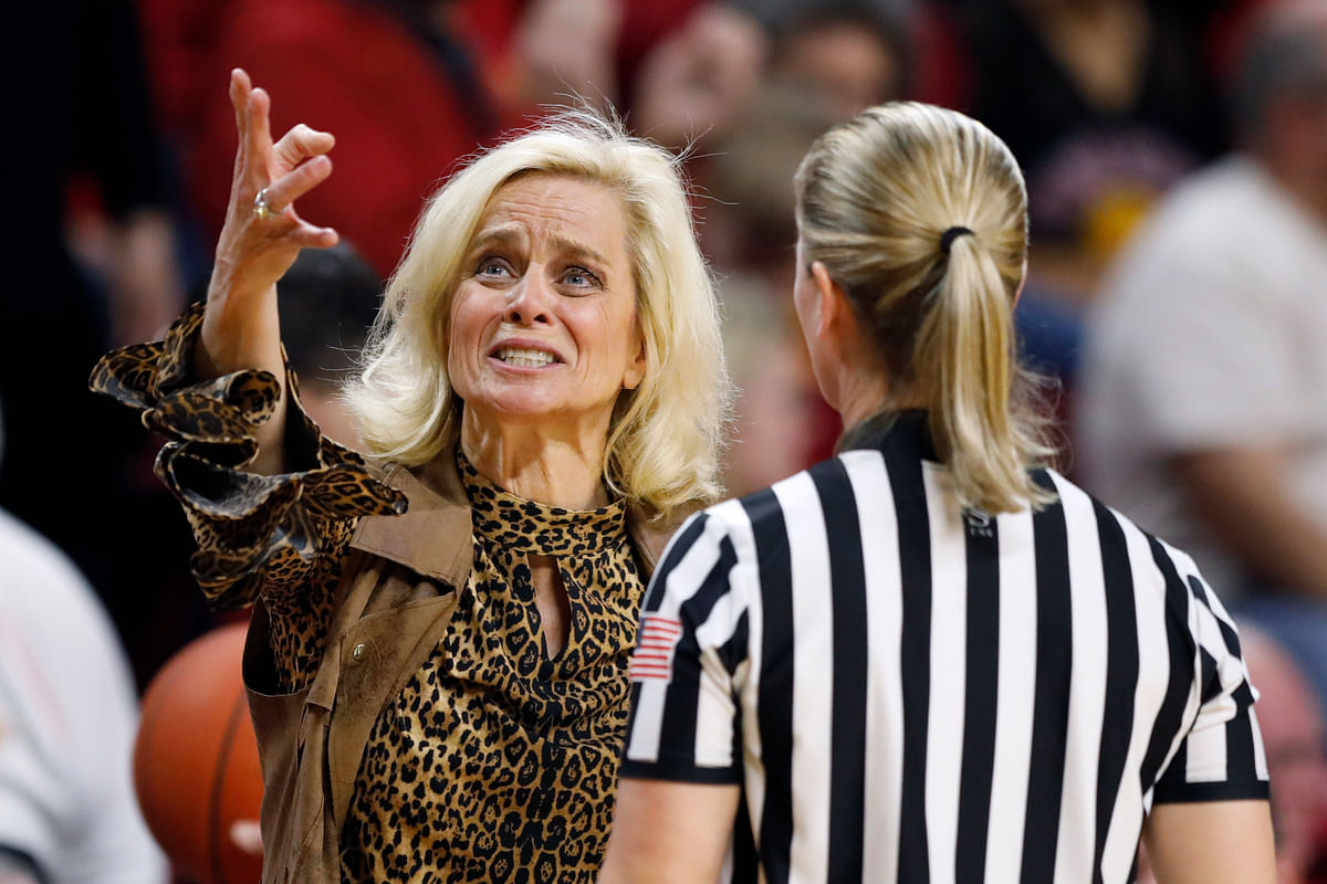 Baylor head coach Kim Mulkey reacts to a call against her team during the second half of an NCAA college basketball game against Iowa State, Sunday, March 8, 2020, in Ames, Iowa.