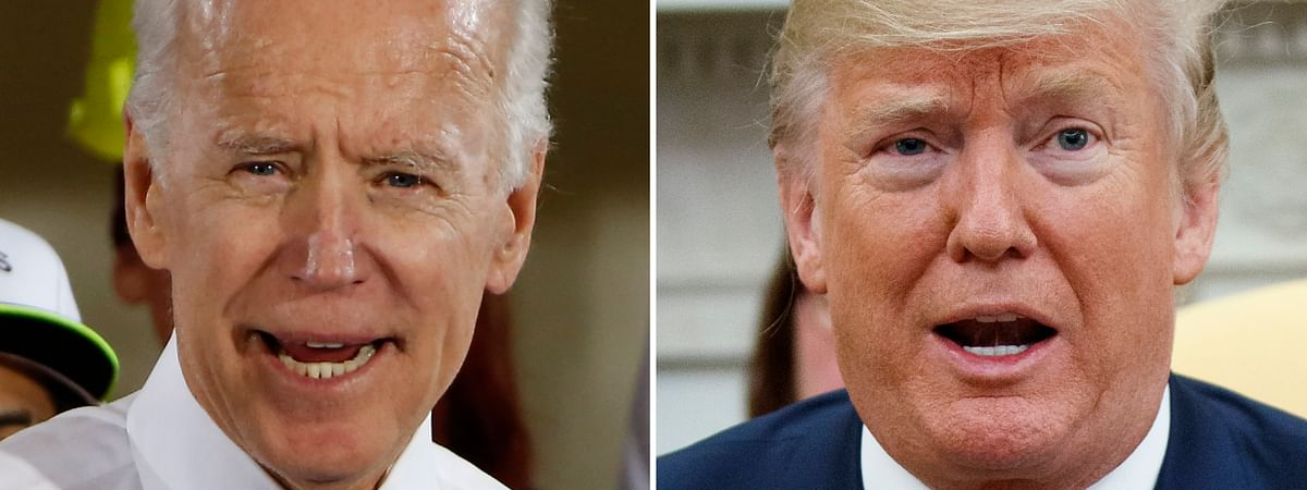 In this combination of file photos, former Vice President Joe Biden speaks in Collier, Pa., on March 6, 2018, and President Donald Trump speaks in the Oval Office of the White House in Washington on March 20, 2018. For a moment, West Virginia looked like it was going to be the only state in the country to allow betting on the presidential election.