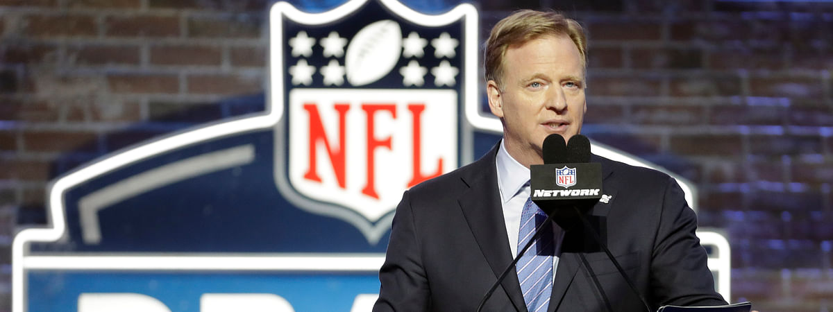 In this April 25, 2019, file photo, NFL Commissioner Roger Goodell speaks ahead of the first round at the NFL football draft in Nashville, Tenn. In a memo sent to the 32 teams Monday, April 6, 2020, and obtained by The Associated Press, NFL Commissioner Roger Goodell outlined procedures for the April 23-25 draft. The guidelines include no group gatherings.