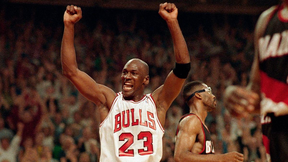 Michael Jordan celebrates in the 1992 Finals against the Portland Trail Blazers