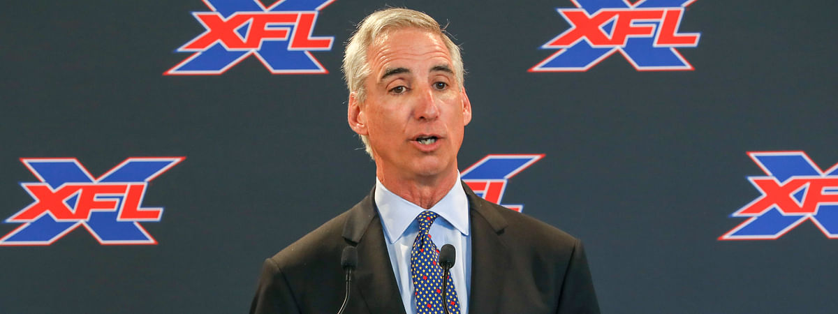 In this March 5, 2019, file photo, XFL Commissioner and CEO Oliver Luck speaks during a news conference at Raymond James Stadium in Tampa, Fla. The XFL filed for bankruptcy on Monday, April 13, 2020, likely spelling the end of the second iteration of the league.