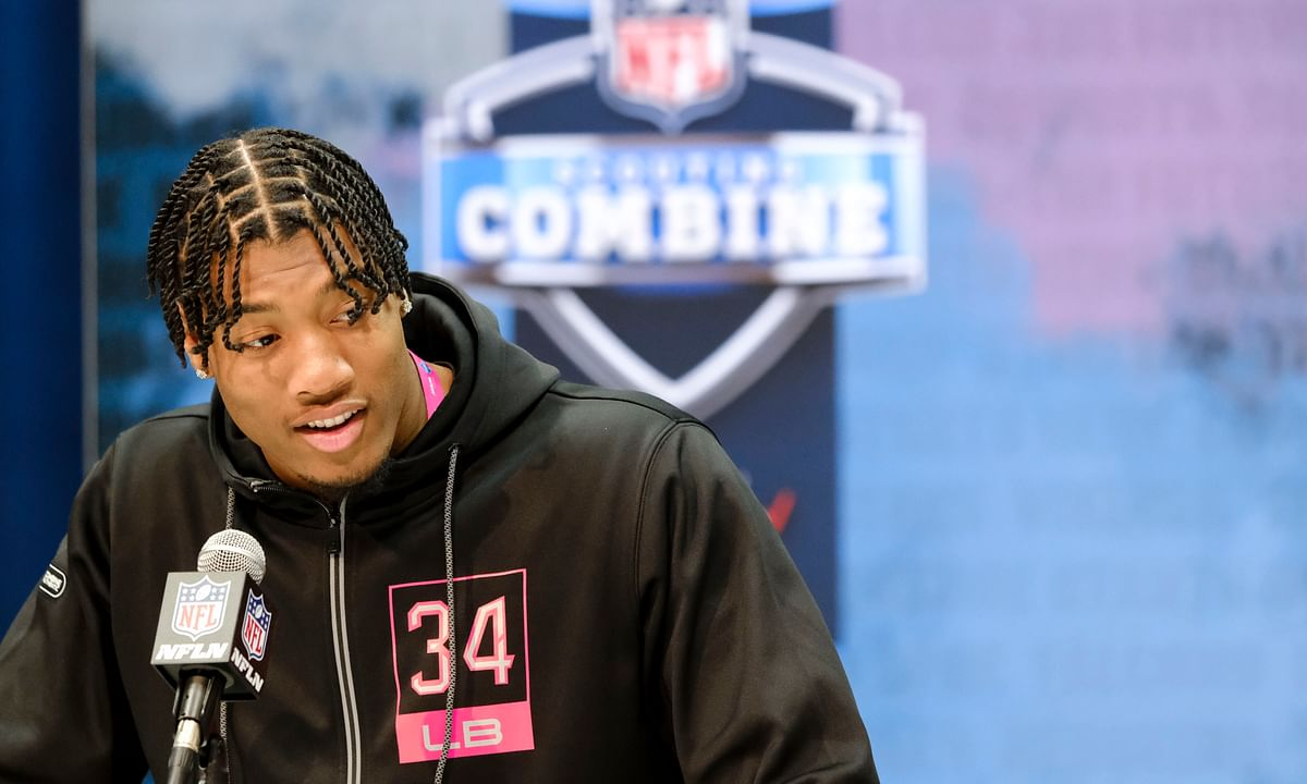 Clemson linebacker Isaiah Simmons speaks during a press conference at the NFL football scouting combine in Indianapolis, Thursday, Feb. 27, 2020.