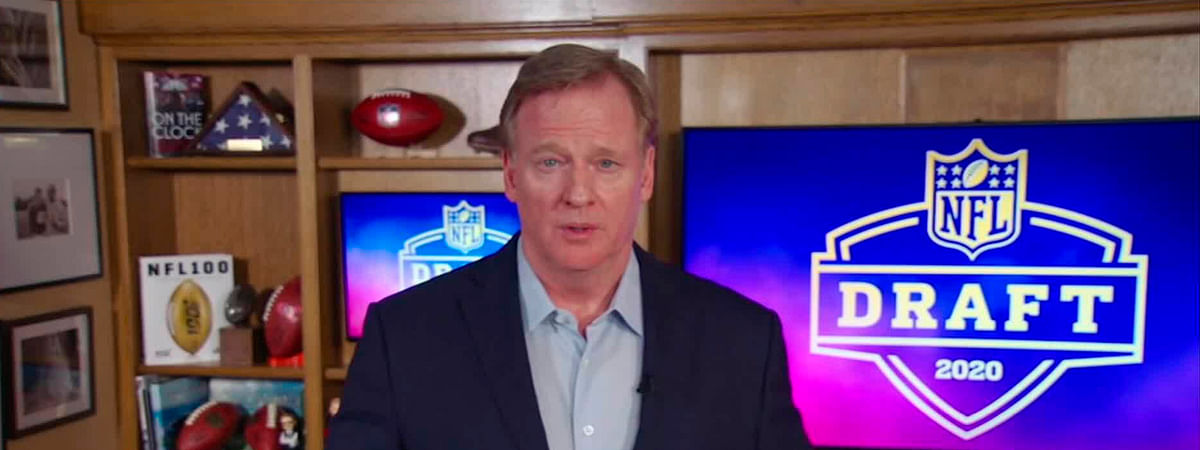 In this still image from video provided by the NFL, NFL Commissioner Roger Goodell speaks from his home in Bronxville, N.Y., during the NFL football draft Thursday, April 23, 2020.