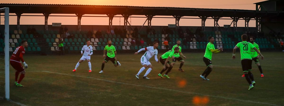 Soccer action from Belarus, taken March 28, 2020.